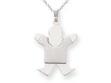 The Kids Solid Satin Engraveable Boy Jumping Charm / Pendant