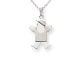 The Kids® Solid Engraveable Boy with Hat on Right Charm / Pendant