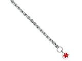 Sterling Silver Engravable Enameled Circular Disc Medical Id Bracelet style: XSM125