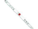 Sterling Silver Polished Medical Figaro Anchor Link Id Bracelet style: XSM160
