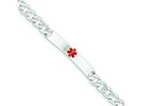 Sterling Silver Polished Medical Curb Link Id Bracelet style: XSM163