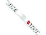 Sterling Silver Polished Medical Figaro Anchor Link Id Bracelet style: XSM170