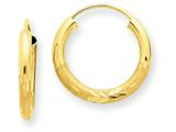 14k 2mm Satin Bright-cut Endless Hoop Earrings style: XY1175