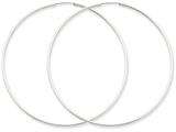 14k White Gold 1.5mm Polished Endless Hoop Earrings style: XY1192