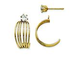 14k Yellow Gold Polished W/cz Stud Earring Jackets style: XY1225