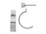 14k White Gold Polished W/cz Stud Earring Jackets style: XY1226