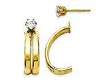 14k Yellow Gold Polished W/cz Stud Earring Jackets style: XY1227
