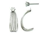 14k White Gold J Hoop Polished W/cz Stud Earrings style: XY1230