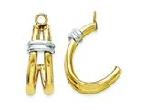 14k Two-tone Polished Double J-hoop Earring Jackets style: XY614