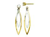 14k Two-tone Teardrop Dangle W/cz Stud Earring Jackets style: YE1089