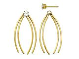 Curved Stick Jacket with CZ Stud Earrings style: YE1090