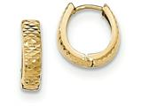 14k Gold Textured And Polished Hinged Hoop Earrings style: YE1678