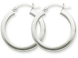 14k White Gold 3mm Polished Square Tube Hoop Earrings style: Z1116