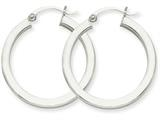 14k White Gold 3mm Polished Square Tube Hoop Earrings style: Z1117