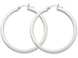 14k White Gold 3mm Polished Square Tube Hoop Earrings style: Z1119