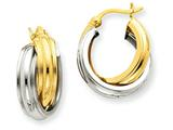 14k Two-tone Polished Double Hoop Earrings style: Z759