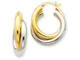 14k Two-tone Polished Double Tube Hoop Earrings style: Z798