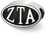 LogoArt Sterling Silver 12.25mm Zeta Tau Alpha Oval Letters Bead Charm style: ZTA002BDSS