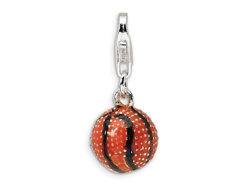 Amore La Vita Amore LaVita Sterling Silver Black and Orange Textured Basketball w/Lobster Clasp Charm for Charm Bracelet
