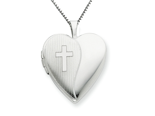 FJC Collections 925 Sterling Silver 20mm with Cross Design Heart Locket - Chain Included at Sears.com