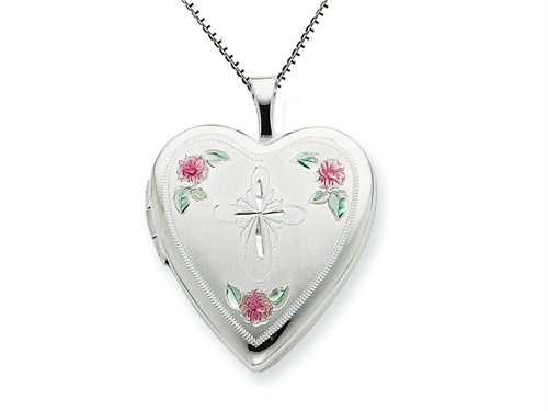 FJC Collections 925 Sterling Silver 20mm Enameled with Cross Design Heart Locket - Chain Included at Sears.com