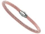 Sterling Silver 7.5 Inch Pink Plated Beaded Bracelet With Magnetic Clasp