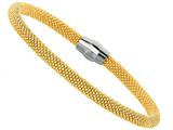 Sterling Silver 7.5 Inch Yellow Plated Beaded Bracelet With Magnetic Clasp style: 460035