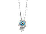 Sterling Silver 18 Inch Hamsa Necklace With Evil Eye