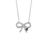 Sterling Silver 18 Inch Bow-Tie Necklace With Evil Eye