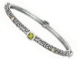 Phillip Gavriel 18K Yellow Gold and Sterling Silver Bangle With Four Peridot Gems