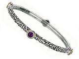 Phillip Gavriel 18K Yellow Gold and Sterling Silver Bangle With Four Amethyst Gems style: 460074