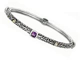 Phillip Gavriel 18K Yellow Gold and Sterling Silver Bangle With Four Amethyst Gems style: 460075