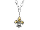 Phillip Gavriel 18K Yellow Gold and Sterling Silver Fleur De Lis Adjustable 16-20 inches Necklace
