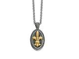 Phillip Gavriel 18K Yellow Gold and Sterling Silver Fleur De Lis Pendant With 18 inches Chain style: 460081