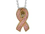 Phillip Gavriel 18K Yellow Gold and Sterling Silver Pink Ribbon Breast Cancer Awarness Necklace With 18 inches Chain