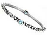 Phillip Gavriel 18K Yellow Gold and Sterling Silver Bangle With Four Blue Topaz Gems style: 460083