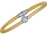 Sterling Silver 7.5 Inch Yellow Plated Hollow Wire Bead Bracelet With Magnetic Clasp
