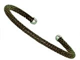 Sterling Silver 4mm Black Rhodium Adjustable Beaded Bangle