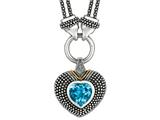 Phillip Gavriel 18K Yellow Gold and Sterling Silver Heart Shaped Blue Topaz Pendant With Double Stranded 18 Inch Chain