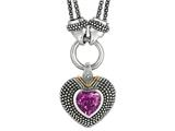 Phillip Gavriel 18K Yellow Gold and Sterling Silver Heart Shaped Amethyst Pendant With Double Stranded 18 Inch Chain