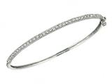Sterling Silver 7.5 Inch Micropave CZ Bangle with Miligrain Edge