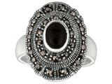 Sterling Silver Marcasite Oval Ring with Onyx Center style: 460114