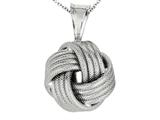 Polished and Textured Love Knot Pendant on 18 Inch Chain