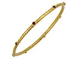 Phillip Gavriel 7.25 Inch Hammered Stackable Slip On Bangle With Garnet Stones