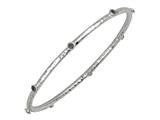 Phillip Gavriel 7.25 Inch Hammered Stackable Slip On Rhodium Bangle With Lolite Stones