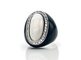 Phillip Gavriel Agate Cocktail Ring Surrounded by White Sapphires