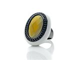 Phillip Gavriel Agate Cocktail Ring Surrounded by Black Sapphires