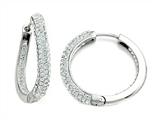 Round Hoop Earrings with Half White Crystals and Half Polished Finish