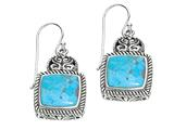 Sterling Silver Simulated Turquoise Square Drop Earrings style: 460189