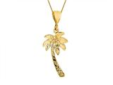 14K Yellow Gold Palm Tree Pendant on a 18 Inch Chain
